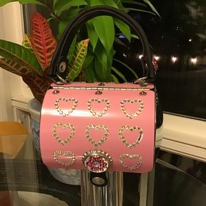 Little Earth Pink Hearts License Plate Purse